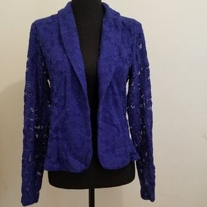 INC Royal Goddess Blue Lace Blazer- size large